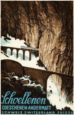 Schoellenen, Switzerland Travel Poster (Gotthard Rail Line, 1919)
