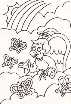 from an Angel's coloring book - boy angel talking to butterflies in the clouds