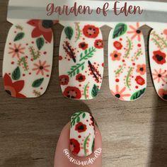 Flowers and greenery on white nail polish base. White Nail Polish, Nail Polish Strips, Us Nails, Love Nails, Crazy Eyes, Acetone, Blue Zircon, Nail Wraps, Rarity
