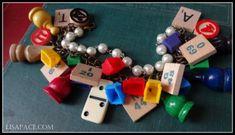 Vintage game piece charm bracelet, bingo, monopoly, scrabble, chess