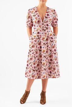 I <3 this Low V-neck woodland print crepe dress from eShakti