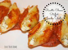 LYH Blog: Ricotta Cheese Stuffed Jumbo Shells Love Your Home, Ricotta, Shells, Posts, Cheese, Meat, Blog, Recipes, Conch Shells