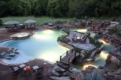 Perfect swimming pool- lazy river, waterfall, and beach entry--Yes, my pool would definitely be something like this! Paradise Pools, Backyard Paradise, Outdoor Spaces, Outdoor Living, Outdoor Pool, Tropical Pool, Tropical Design, Beautiful Pools, Beautiful Beautiful