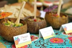 Trio of tropical salsas served in coconut shells . Trio of tropical salsas served in coconut Coconut tree leaves ballons Plants Summer Aloha Party, Hawaiian Luau Party, Tiki Party, Beach Party, Hawaiin Theme Party, Spa Party, Moana Party, Cuban Party, Luau Food
