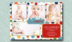 Birthday Rainbow Polka Dot Birthday Invitation