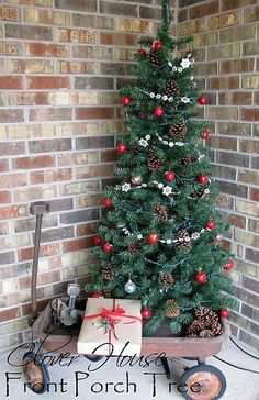 Front porch tree in a wagon