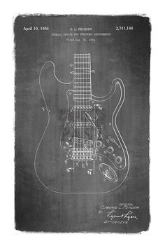 Fender Stratocaster Guitar Patent Print 1956 by ThePatentRoom