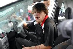 He decided to attempt driving through a protest held by Varsity students for #FeesMustFall   #FeesMustFall