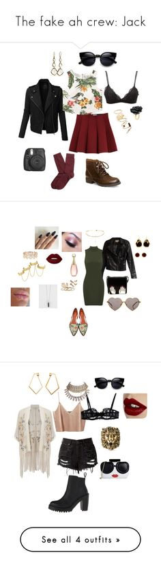 """""""The fake ah crew: Jack"""" by risingwood-trash ❤ liked on Polyvore featuring BP., LE3NO, Ippolita, Outstanding Ordinary, MANGO, Steve Madden, Brooks Brothers, Charlotte Russe, Fujifilm and Nach Bijoux"""