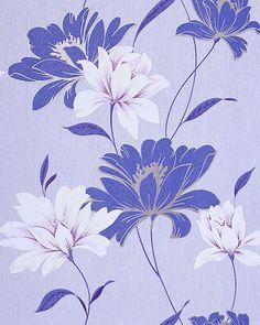 Papier peint design motif floral fleurs, bleu indigo bleu clair blanc argent  