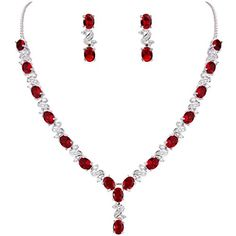 EleQueen Womens Silvertone Cubic Zirconia Oval Shape Leaf Bridal Necklace Earrings Set Ruby Color *** Click image for more details.