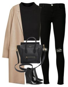 Untitled#2717 by fashionnfacts on Polyvore featuring Topshop, Zara, J Brand, Burberry and CÉLINE