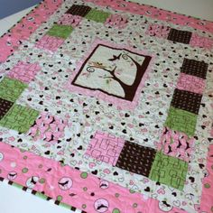 Pink and Green Baby Girl Quilt Personalized by loveelaine on Etsy, $75.00