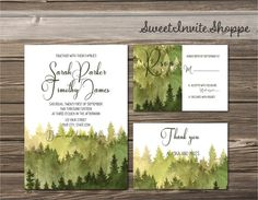 Watercolor Trees Wedding Invitation, Rustic Mountain Invitation, Pine Trees…