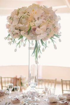 Blush and ivory large floral centrepieces created by Akiko Floral Artistry.  Photo Credit:  Milton Photography.  #phalaenopsis #orchids #blush #gold #blushandgold #ivory #tulips #roses #peonies #hydrangea