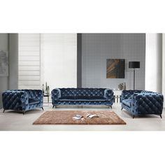 Glam! 3 Piece Sofa Set in Tufted Royal Blue Velour.  Modern interpretation of the timeless chesterfield sofa is hand sewn in Velour Fabric to enhance the detail & quality of the tufted cushions. #dynamichome #glam #velour #fabric #tufted #blue #modern #traditional #transitional #style #luxe #design #decor #homedecor #interiors #livingroom #ideas #inspiration #furniture #color #pretty #trending