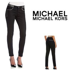 "MICHAEL Michael Kors Studded Skinny Jeans Silvertone studded details add a pop of edgy appeal to these skinny jeans from MICHAEL Michael Kors.  Featured in black.  Button and zip front closure.  Belt loops.  Classic five pocket design.  Silvertone studded details in front back. Skinny fit.  Cotton/spandex.  Approx measurements;  30-1/2"" inseam, 8-1/2"" rise, 15-1/2"" waist.  (11) MICHAEL Michael Kors Jeans Skinny"
