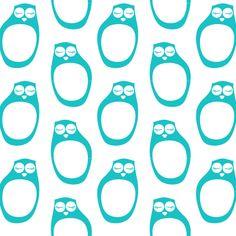 PaaPii Design - Nukkuvat pöllöt puuvillakangas, turkoosi