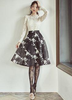 Flower Embroidered Mesh Flared Skirt, Styleonme