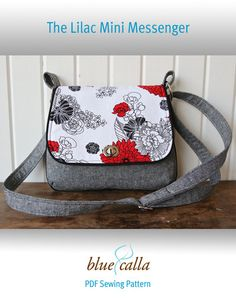 Several patterns for suitable bags. FREE The Lilac Mini Messenger - PDF Sewing Pattern Handbag Patterns, Bag Patterns To Sew, Sewing Patterns Free, Free Sewing, Quilted Purse Patterns, Pattern Sewing, Free Pattern, Messenger Bag Patterns, Mini Messenger Bag