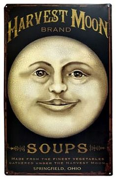 New Primitive Vintage Style Man In Moon HARVEST MOON SOUP Tin Sign Wall Decor #VintageStyle