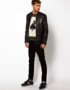 Selected | Selected Racer Leather Jacket With Quilted Lining at ASOS