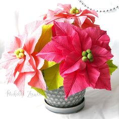 Thanksgiving is over and I'm excited to be focusing on Christmas crafts. Today I would like to share a Paper Poinsettia plant made with heav. Paper Flower Art, Paper Flowers, Poinsettia Plant, Pink Paper, Christmas Crafts, Arts And Crafts, Table Decorations, Art And Craft, Dinner Table Decorations