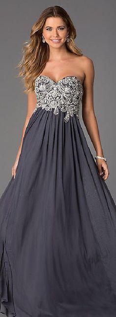Cute Chiffon Light Slate Gray Princess Strapless Natural Prom Dress Sale mkkdresses16036vegrt #longdress #promdress