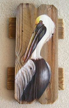 Pelican Hand Painted on Reclaimed Fence Boards (Custom Order Only) Mais Pallet Painting, Pallet Art, Tole Painting, Painting On Wood, Painting & Drawing, Fence Painting, Pelican Art, Painted Boards, Coastal Art