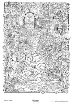 Doodle Art Posters | Doodle Art English Garden Coloring Page Poster B&W