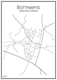 Bottnaryd. Småland. Sverige. Map. City print. Print. Affisch. Tavla. Tryck. Stadskarta.