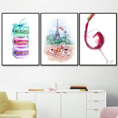 Watercolor Paris Macaron Coffee Croissant Wine Nordic Posters And Print Wall Art Canvas Painting Wall Picture Kitchen Home Decor Dining Room Wall Art Dining Room Wall Art, Kitchen Wall Art, Canvas Art Prints, Canvas Wall Art, Canvas Poster, Painting Prints, Poster Decorations, Wall Art Pictures, Minimalist Art