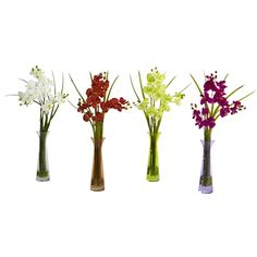 Nearly Natural Mini Phalaenopsis and Colored Vases (Set of (Mini Phal w/Colored Vase (Set of (Polyester) Faux Flowers, Colorful Flowers, Silk Flowers, Colorful Trees, Silk Orchids, Phalaenopsis Orchid, Artificial Orchids, Colored Vases, Silk Tree
