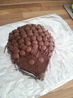 Chocolate button hedgehog cake