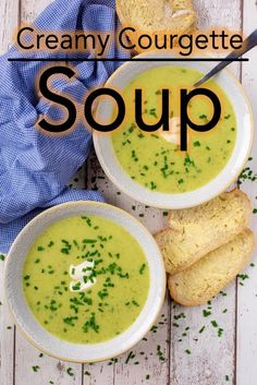 If you are looking for a light and filling soup that is low in calories, then this Creamy Courgette (Zucchini) Soup is for you. It is a mere 68 calories for a large bowl and can easily be made vegan too. This Courgette Soup is a great way to use up a lot Vegetarian Soup, Vegetarian Recipes, Healthy Recipes, Zucchini Soup, Zuchinni Recipes, Courgette Soup Recipe, Crockpot Recipes, Cooking Recipes, Casserole Recipes