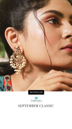 If class and luxury had a visual representation, it would be Ehimay Chaandablis. These Indian earrings, made with the best quality CZ stones, perfected with the high quality gutta pusalu pearls, and crafted with patience and care, command all the attention. This pair of Indian earrings can be your go-to jewelry choice for accessorizing various types of Indian attires, including sarees, lehengas, salwar suits, and kurtis. Wear it for Indian weddings or special occasions for a classic look. Jewelry Ads, Jewelry Model, India Jewelry, Shell Jewelry, Gold Jewelry, Jewlery, Indian Earrings, Gemstone Earrings, Summer Jewelry