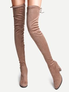 Camel Faux Suede Point Toe Tie Back Knee Boots