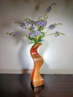 Wood vase, segmented wood vase, test tube vase, home decor, flower vase, flower holder, reclaimed wood, Paduk, Walnut, wooden vase