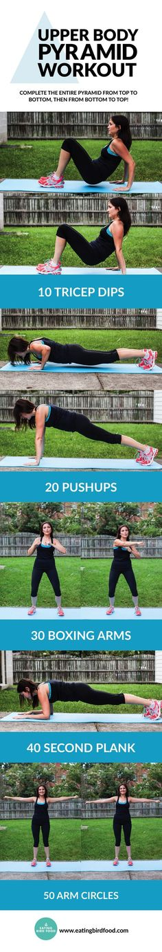 This pyramid workout targets your upper body with just five easy moves! You're using your own body weight for resistance so no equipment is necessary.