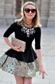 Modern day Audrey Hepburn with the fit & flare dress.  Love the brocade / jacquard & necklace / jeweled neckline