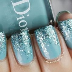 nails for the bridesmaids  champagne nail polish and blue glitter