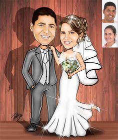 Caricaturas digitais, desenhos animados, ilustração, caricatura realista: Desenho de noivos !