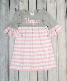 This Gray Personalized Kelly Dress - Infant, Toddler & Girls by Stellybelly is perfect! #zulilyfinds