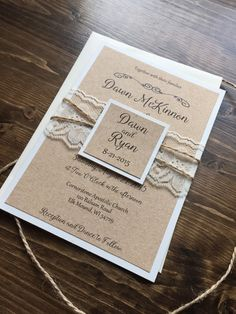 Rustic Wedding Invitation, Vintage Wedding Invitation, Lace Wedding Invitations…