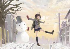 Christmas Anime Girl and Snowman