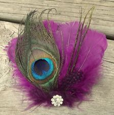 purple and gold peacock feather for hair | Yellow, Purple or Teal peacock feather bridal fascinator hair clip ...