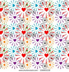 Seamless pattern with colorful hearts. - stock vector