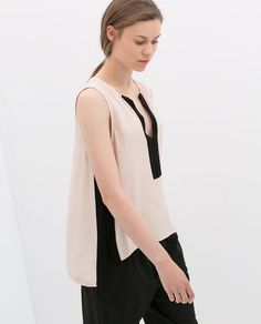 ZARA - COLLECTION AW14 - LOW-CUT TOP WITH SIDE STRIPE