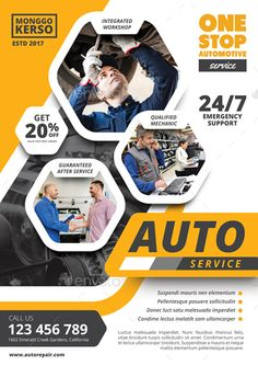 Buy Auto Repair by monggokerso on GraphicRiver. Auto Repair Flyer File Features : Size + Bleed area CMYK / 300 dpi Easy to edit text Well organized PSD . Graphic Design Brochure, Letterhead Design, Graphic Design Print, Banner Design, Flyer Design, Layout Design, Design Design, Calendar Design Template, Flyer Template