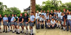 Our Guys and Girls decided to switch uniforms for the day. Kawaii right here. Guys In Skirts, Boys Wearing Skirts, School Uniform, Guys And Girls, Dress Skirt, Mini Skirts, Real Men, Female, How To Wear
